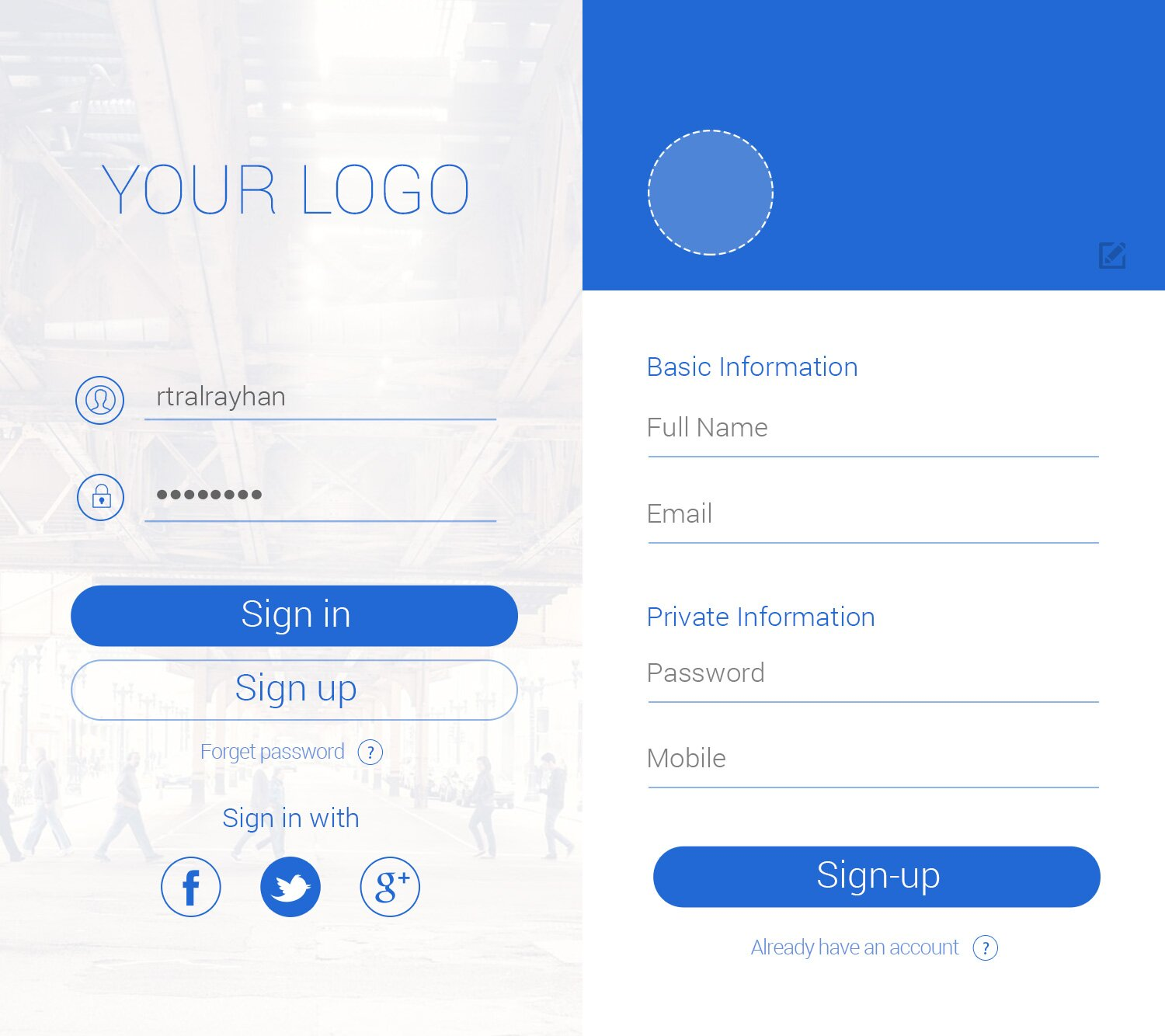 iPhone 6 FREE PSD Sign in Sign up Screen