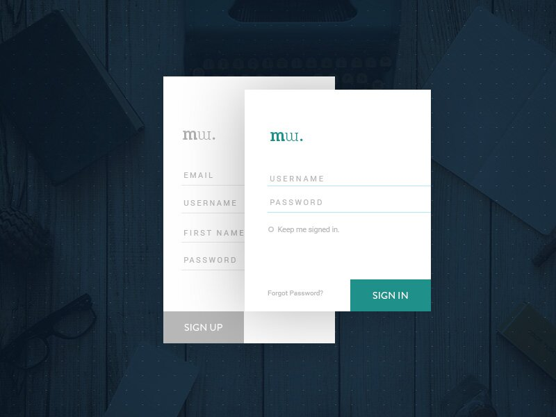 UI Login form PSD