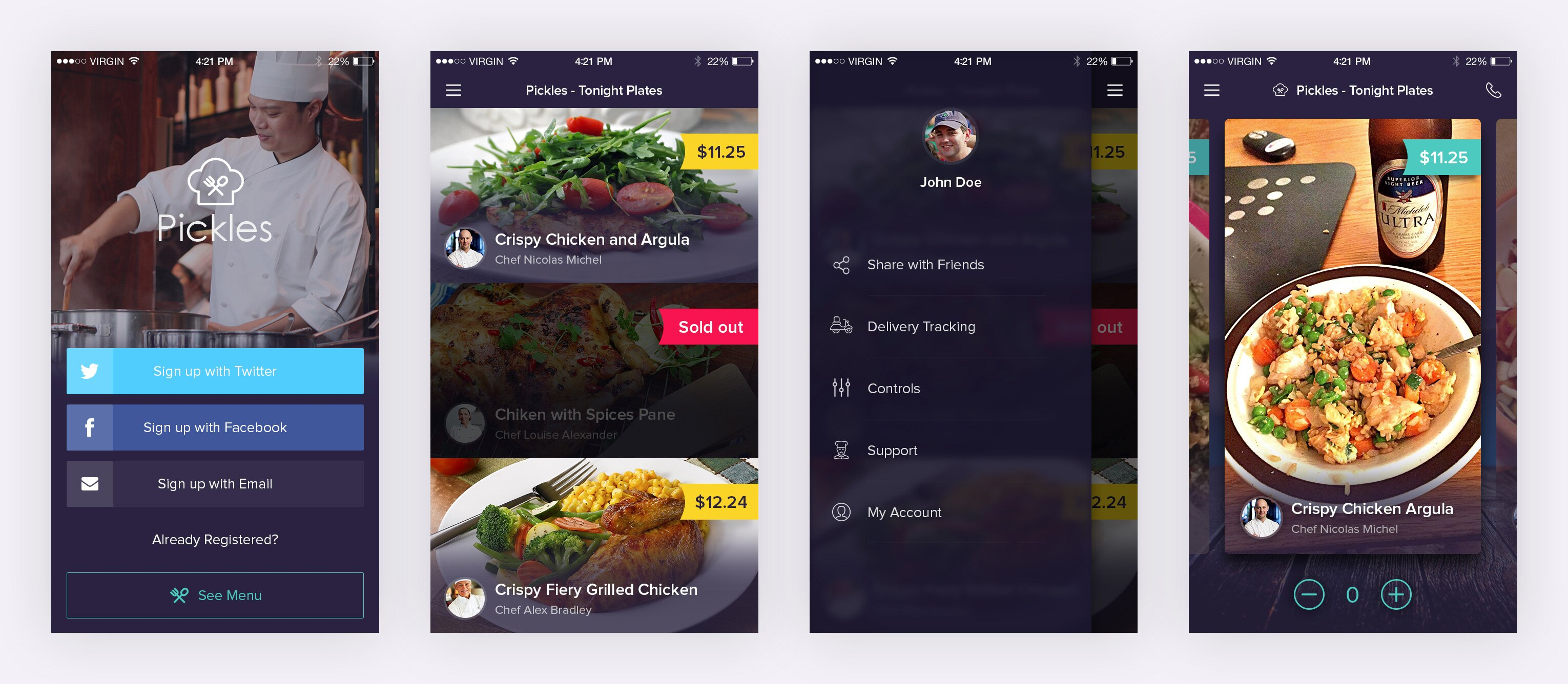 Restaurant app free psd pxdesigns