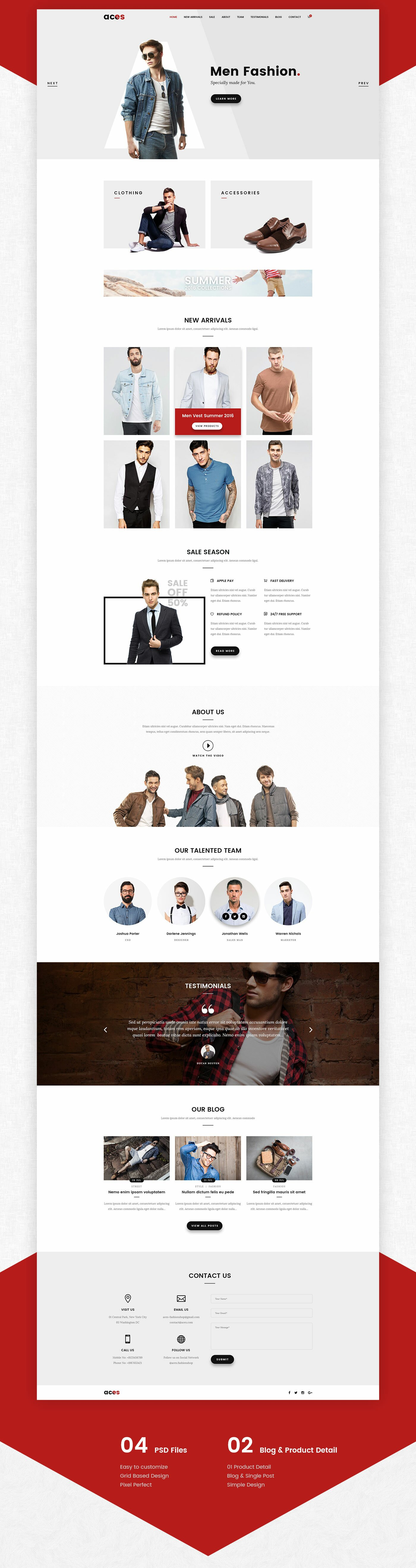 ACES – Free eCommerce One Page Template
