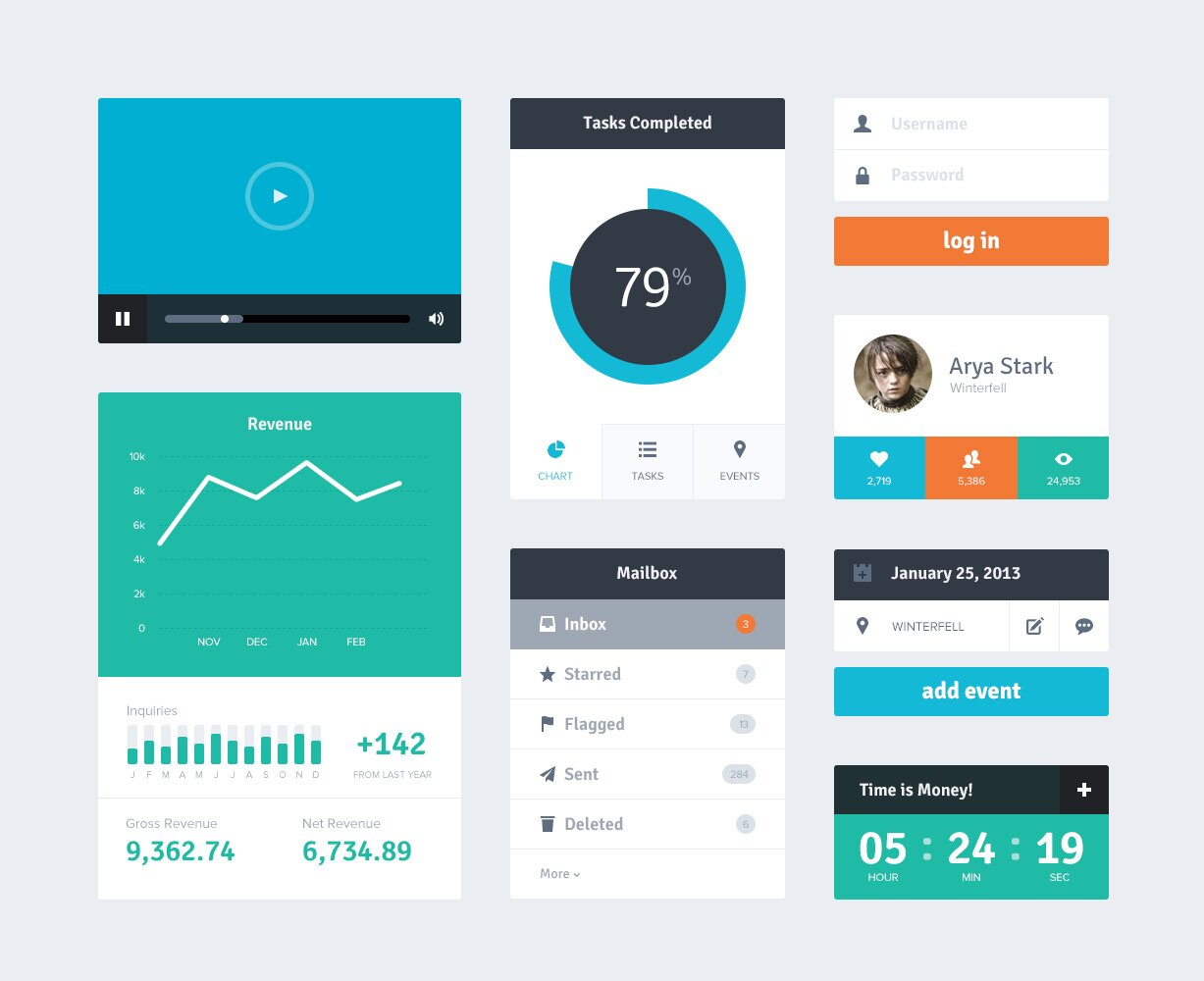 Freebie PSD Flat UI Kit