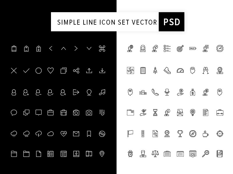 Simple Line Icon Set Vector PSD