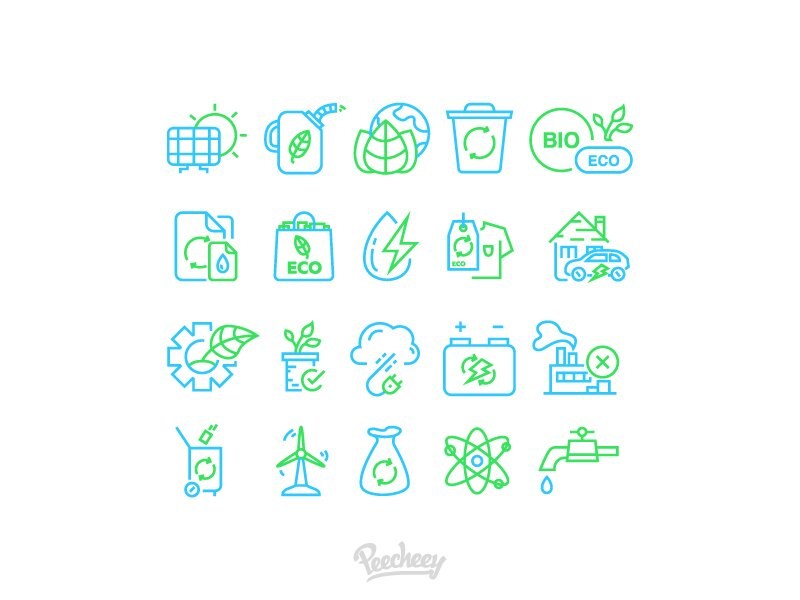 Ecology green line icons Free Vector