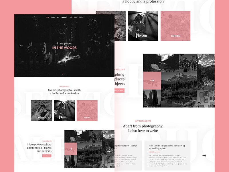 Photography Landing Page FREE PSD