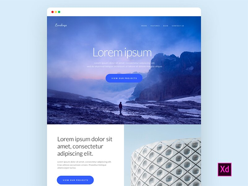 Freebie – Landing Page for Adobe Xd