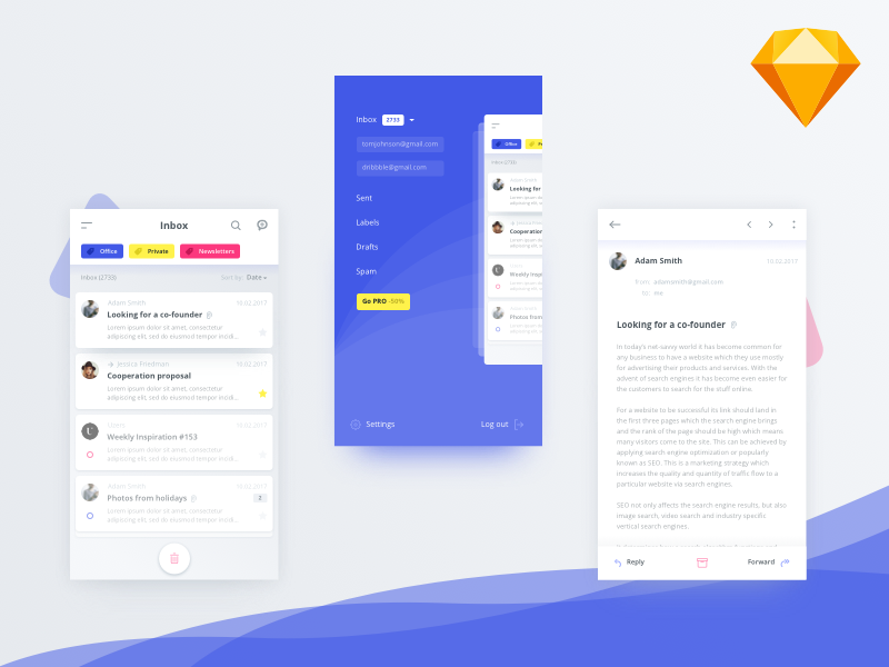 Mail client app (.sketch)