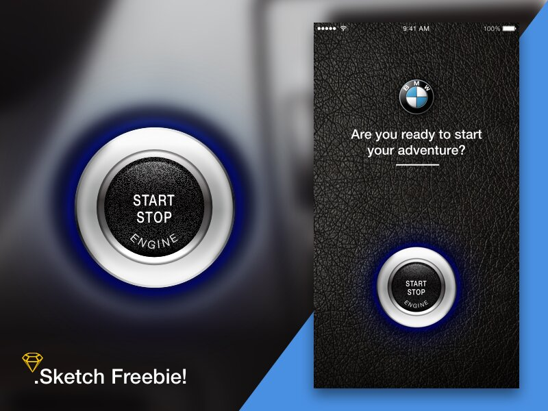 BMW start button sketch freebie!