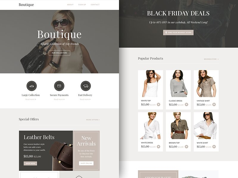 Freebie PSD+Sketch Newsletter Boutique Template
